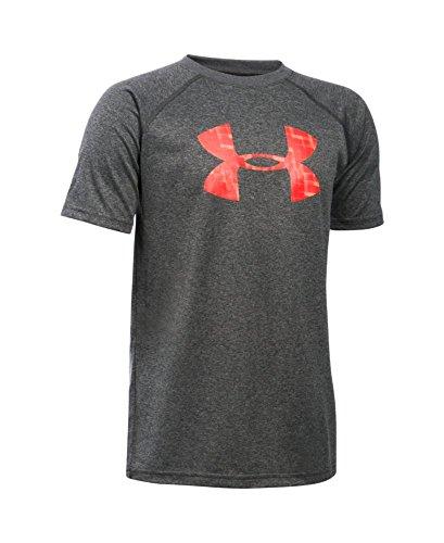 Under Armour Boys' Tech Big Logo T-Shirt, Carbon Heather (120), Youth Medium