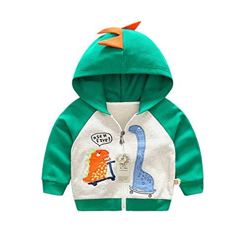 Thorn Bird Boys Long Sleeve Cartoon Dinosaur Hooded Sweatshirts Jacket Coat Kids Cotton Long Sleeve Clothing(Green-4/5T-120cm) -