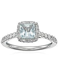 14k White Gold Aquamarine and Diamond (0.50 cttw, H-I Color, I2-I3 Clarity) Engagement Ring, Size 7