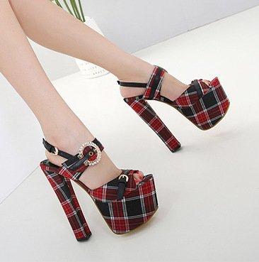 ZHUDJ Peep Toe Pumps_Super Schönheit Schuhe Mit Groben Wasserdicht Toe Buckle Thirty-six