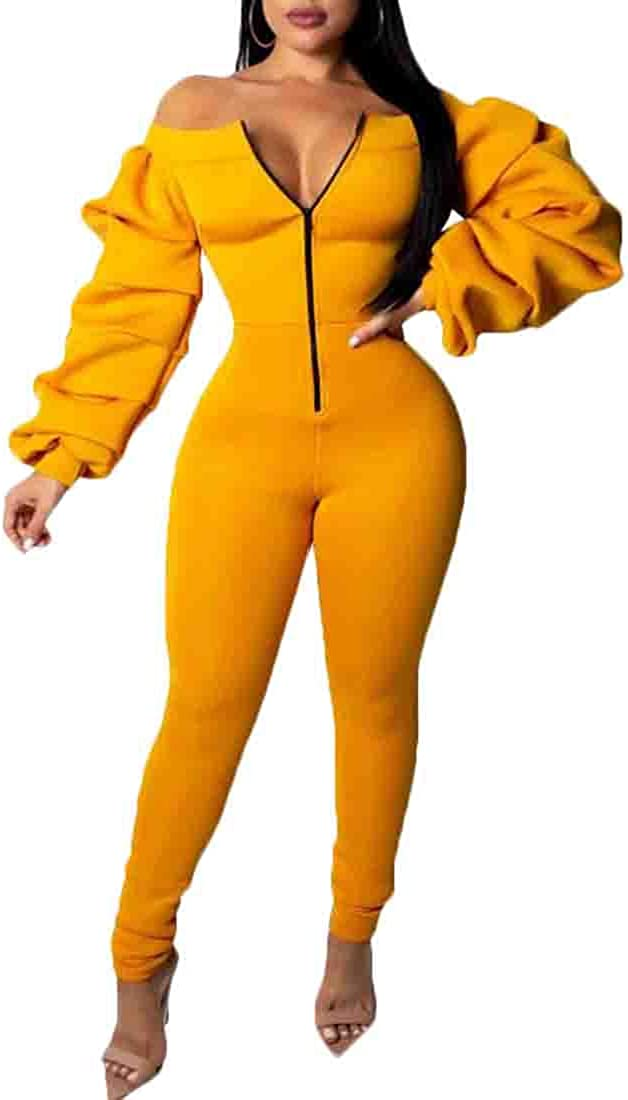 Spirio Women Classic Long Sleeve Zip-Up Shoulder Off Long Romper Jumpsuits