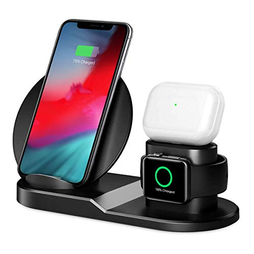 Charging Station for Multiple Devices – Wireless Charger – 3 in 1 Magnetic Charging Base for Phone, Watch and Headphones – Compatible with Apple Products – Convenient and Practical - Black