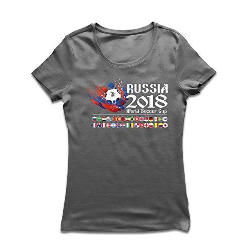 lepni.me Camiseta Mujer Copa Mundial de Rusia 2018, Las 32 Banderas Nacionales del Equipo de fútbol (Medium Grafito...