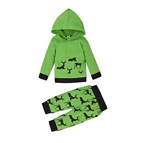Dsood Newborn Infant Baby Boys Girls Christmas Cartoon Print Tops Hooded Pants Costume Green