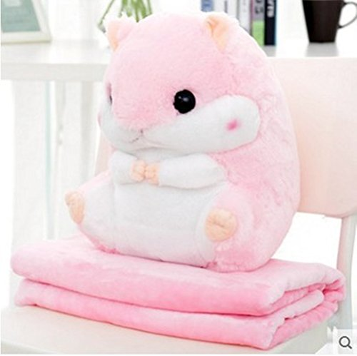 WDA Cute Hamster Plush Toy Dual-purpose Pillow Blanket Sofa Nap Air Conditioning Blanket Anime Children's Day Gift (pink) ()
