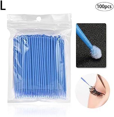 azul claro 100PCS desechable Microbrush Aplicadores pesta/ñas Extensiones cepillo pesta/ñas individuales Extracci/ón Swab aplicador del rimel belleza del maquillaje Herramientas de 2,5 mm