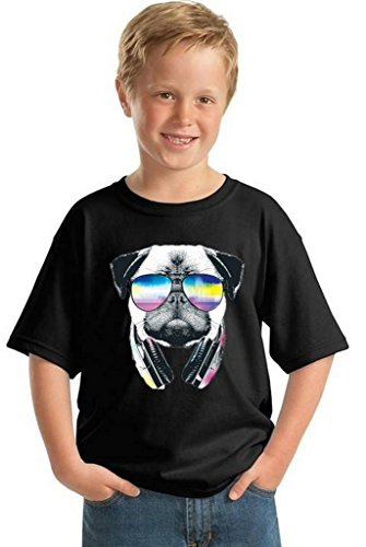 Awkwardstyles Youth Pug Music Revision T-Shirt Gift for Kids Animal Lover Shirt M Black ()