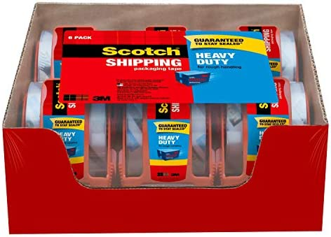 Scotch Heavy Duty Shipping Packing Clear Tape Rolls 6 CT w// Dispenser 40X