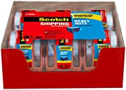 "Scotch Heavy Duty Shipping Packaging Tape, 6 Rolls with Dispenser, 1.88"" x 22.2 Yards, 1.5"" Core, Gr"