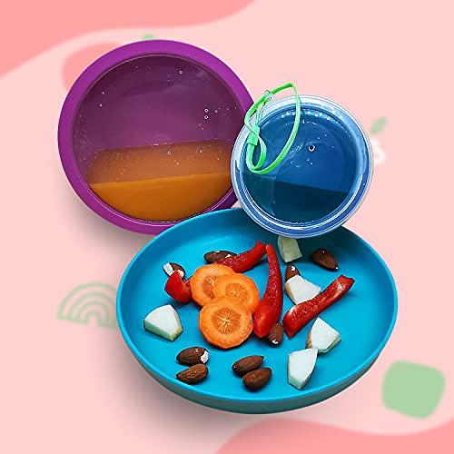 ecolly Bambus Kindergeschirr Set - aus Bambusfaser & Maisstärke, BPA-frei, Perfekt für Unterwegs -5-teilig 1x Teller, 1x Schüssel, 1x Becher, 2x Deckel