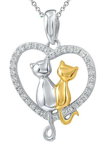 chariot-trading-silver-heart-twin-cats-pendant-fit-for-necklace