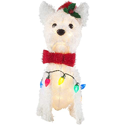"""Holiday Time Fun and Festive Holiday Prelit Fluffy White Terrier, Santa Hat & Bowtie, 45 Lights 26"""""""