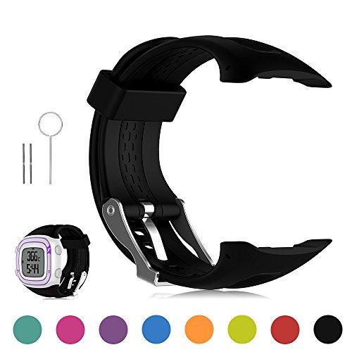 Feskio Garmin Forerunner 10 / Forerunner 15 GPS Running Watch Replacement Band Soft Silicone Replacement Wrist Watch Strap for Garmin Forerunner 10/Forerunner 15 GPS Running Watch (Small/Large Size)