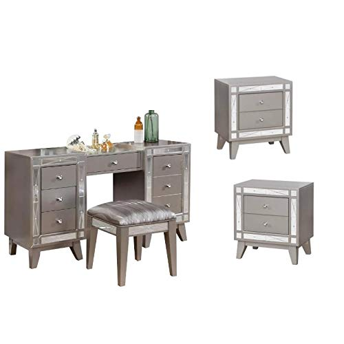 - Coaster Home Furnishings 4 Piece Bedroom Vanity Plus Stool and Set of 2 Nightstand in Silver