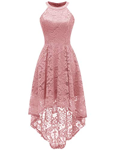 Sepfier Women's Halter Neck Floral Lace Bridesmaid Dress Sleeveless Swing Cocktail Dress Pink,M ()