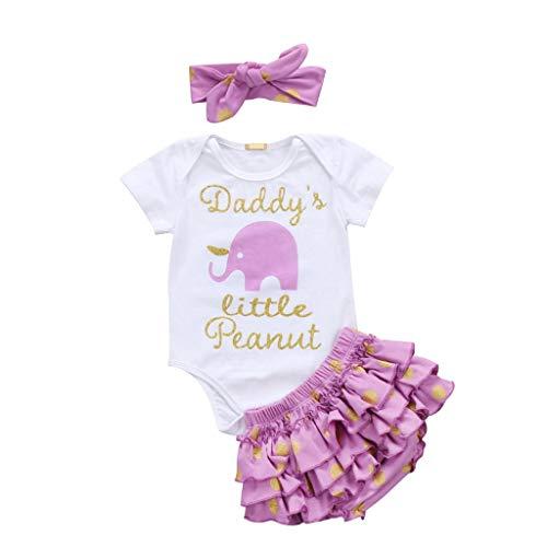 (Lovely Baby Girl Elephant Clothes Set Summer New Kids InfantBaby Girls Letter Romper+dot Ruffle Shorts Headband(Purple,Newborn))