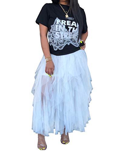 - Salimdy Women's Sweet Elastic Waist Tulle Layered Ruffles Mesh Long Tiered Skirt White S