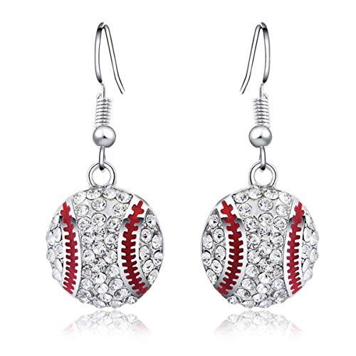 - Baseball Pendant Necklace & Dangle Earrings Jewelry Set Sport Clear Crystal Fashion Jewelry (Silver 2pair Earrings)
