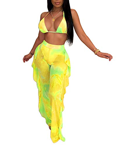 Womens Sexy Halter Sheer Bikini Ruffle Long Pants Set 2 Piece Swimsuit Coverup Yellow Size M