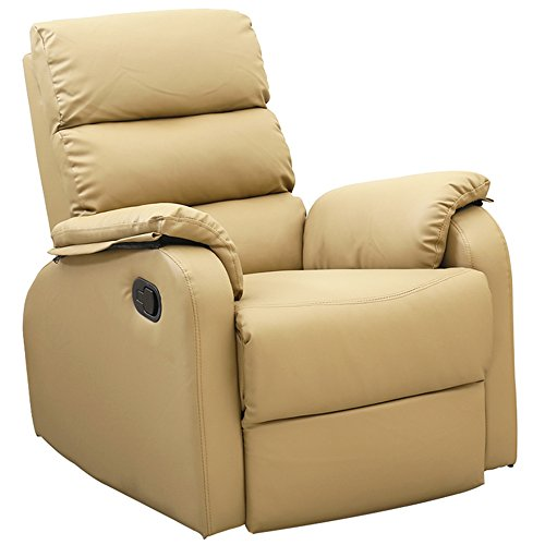 Dland Home Theater Seating Recliner Chair Compact Manual Leather Reclining  Sofa Living Room Chairs, Light