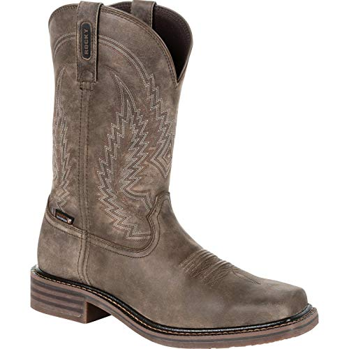 - Rocky Men's Riverbend Waterproof Western Boot Square Toe Grey 9.5 D