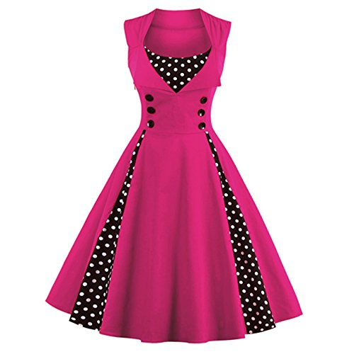 [ISYITLTY Women's Vintage Dresses Polka Dot 1950s Retro Rockabilly Costume rosel] (Short Skirt Long Jacket Cake Costume)