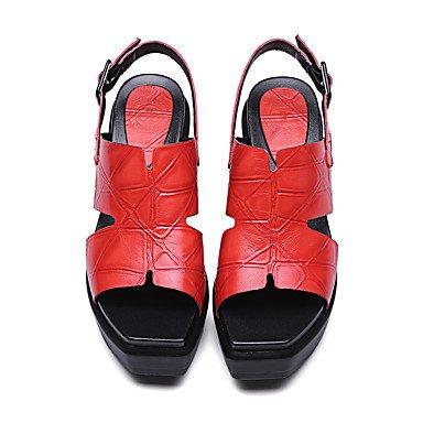 Piel Negro Oficina Fiesta Vestido LvYuan Otra de Black Trabajo y y Sandalias del Cuero Noche Cuña Tacón Animal club Rojo Zapatos Mujer qWqaHw0S