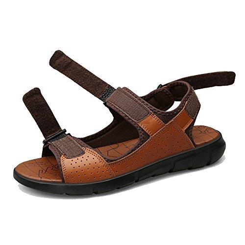 con regolabili uomo punta Sandali Xiaoqin casual Brown estivi antiscivolo sandali da aperta fqwISpT