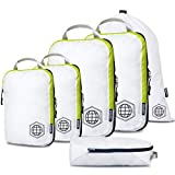 Packing Cubes Travel Organizer- Compression Packing Cubes for Carryon Luggage (White and Green, 6 Piece Set)