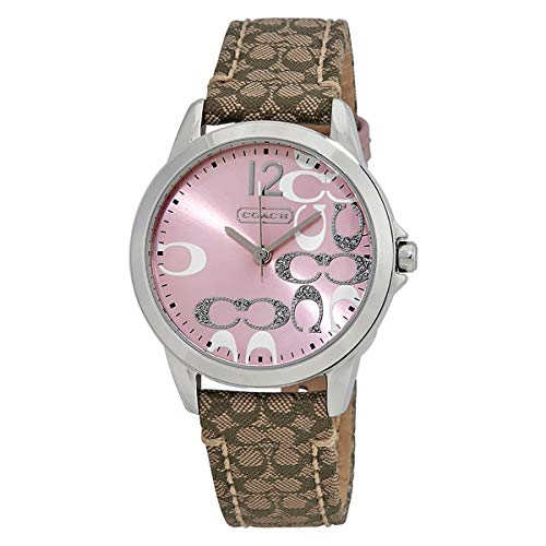 Coach Womens 14501621 Classic Signature Strap Pink Dial Watch