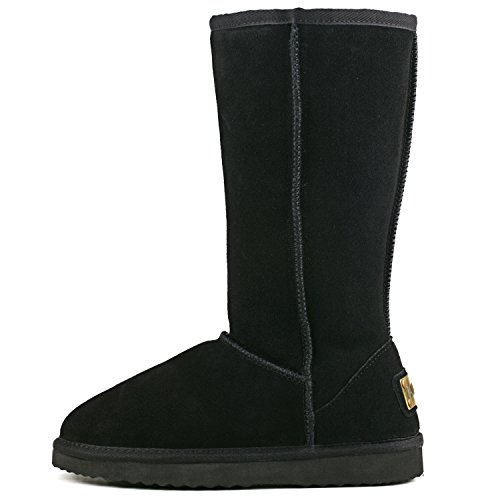 Ausland Women's Classic Leather Tall Snow Boots A5815 Black 9.5US 40