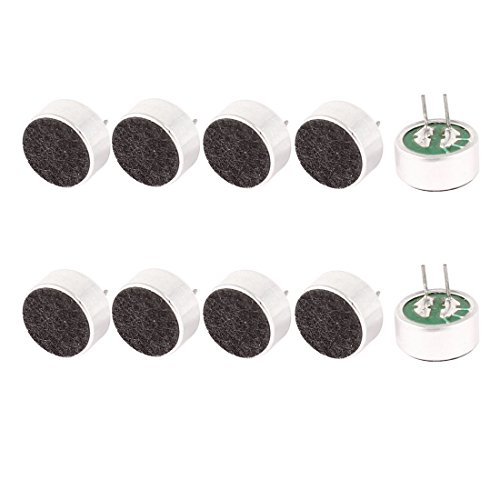 (uxcell 10 Pcs 9.7mm x 7mm 2 Pin MIC Electret Condenser Microphone)