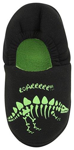 SlumberzzZ - Zapatillas de estar por casa de Material Sintético para niño Black Dinosaur