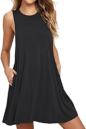 BISHUIGE Women Summer Casual Round Neck T Shirt Dresses Beach Cover up Plain Tank Dress