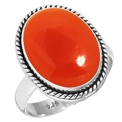 Natural Carnelian Ring 925 Sterling Silver Handmade Jewelry Size 8.5