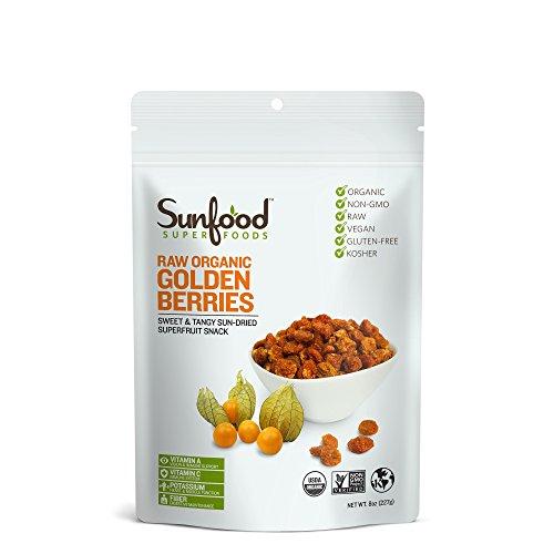 Sunfood Superfoods Golden Berries. Raw, Organic. Sweet & Tangy Sun-Dried Super-Fruit Snack for Kids & Adults. Nutritional Powerhouse- Vitamins, Fiber, Protein, Iron. Antioxidants, Immunity. 8 oz Bag