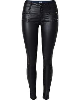 QitunC Damen Niedrige Taille Stretch Kunstleder Hose PU Coated Skinny Jeans  Leggings Biker Hosen 36a433976d