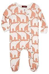 Milkbarn Organic Cotton Long Sleeve Footed Romper: Rose Elephant (3-6 Months)