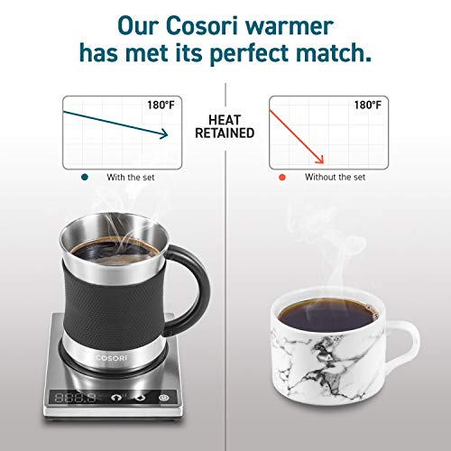 Cosori Coffee Mug Warmer & Mug Set,Electric 24Watt Beverage Cup Warmer for Desk Home Office Use,304 Stainless Steel 17oz Mug w/ Lid,Touch Tech & LED Backlit Display,Ideal for Gift,Coffee,Tea, Hot Cocoa by COSORI (Image #5)