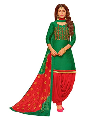 Salwar Dress Kameez Silk - Ladyline Plain Silk Handworked Patiala Salwar Kameez Embroidered Partywear Indian Pakistani Dress for Womens (Size_50/ Green)