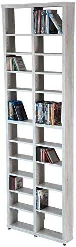 Topkit | Estanteria CD DVD Berlin 2010 | Medidas 208 x 66,5 x 15 cm | Estante para CDs | Librería DVDs | Blanco Mozart