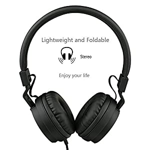 Sound Kanen IP950 Stereo Folding Stretchable Headphones Adjustable Headband Headset Kids Earphones or Adults Lightweight Headsets with In-line Mic for Iphone/ipad/tablet/andriod/mp3/mp4/laptop (Black)