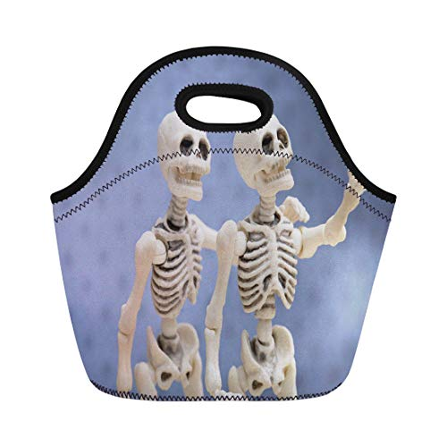 Semtomn Neoprene Lunch Tote Bag Halloween Selfie Self Portrait Skeletons Smartphone Happy Dead Phone Reusable Cooler Bags Insulated Thermal Picnic Handbag for Travel,School,Outdoors,Work]()