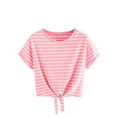 Romwe Women's Knot Front Cuffed Sleeve Striped Crop Top Tee T-Shirt at Women's Clothing store