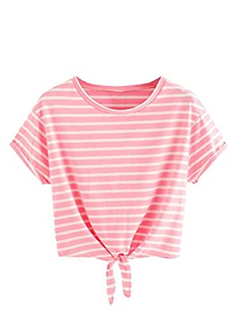 Romwe Women's Knot Front Cuffed Sleeve Striped Crop Top Tee T-Shirt Pink L