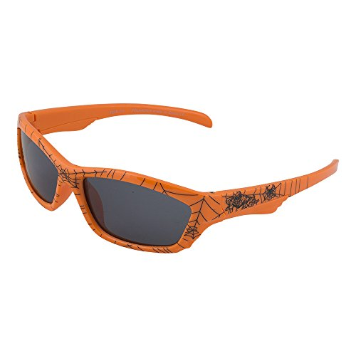 Kids Flexible Rubber Sunglasses for Boys and Girls - Orange Spider Web Pattern Wayfarer Frame - Bendable and Unbreakable with 100% UV Protection and Polarized Lenses - By Optix - Sunglasses Coolest Wayfarer