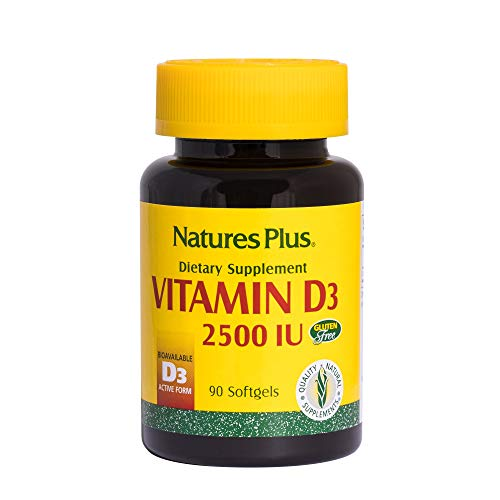 Natures Plus Vitamin D3 (Cholecalciferol) - 2500 IU, 90 Softgels - Bone Health, Heart Health & Immune System Support Supplement, Bioavailable Active Form - Gluten Free - 90 Servings