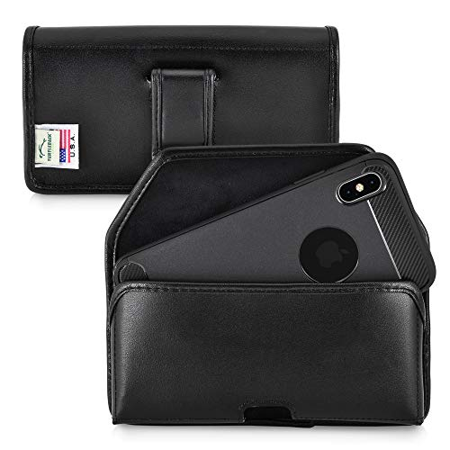 Leather Carry Case Holster for iPhone Xs MAX | USA Made | Horizontal with Slim Non-Rotating Belt Clip by Turtleback