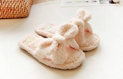 mhgao Lady ocio primavera y otoño en casa zapatillas de felpa casa zapatillas rosa
