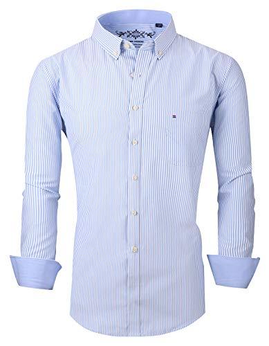 XTAPAN Men Striped Dress Shirt-Long Sleeve Casual Slim Fit Vertical Striped Button Down Dress Shirt US XXS=Tag 39 -